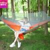 户外吊床带蚊帐全自动速开 拼色彩色野营秋千 尼龙网状吊床